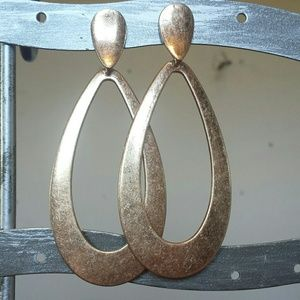 Anthropologie Brushed Gold Door Knocker Earrings